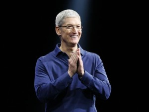 Apple's Tim Cook delivers the keynote address at the Worldwide Developers Conference, Monday morning June 8, 2015, at the Moscone West convention centerin San Francisco, Calif. (Karl Mondon/Bay Area News Group)